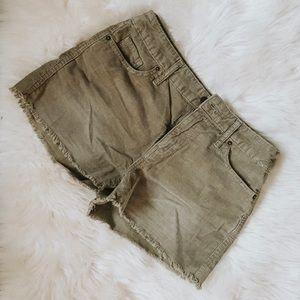 Mossimo women's green corduroy high waist shorts